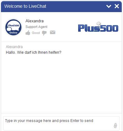 Plus500-Kundensupport-Chat-Fenster