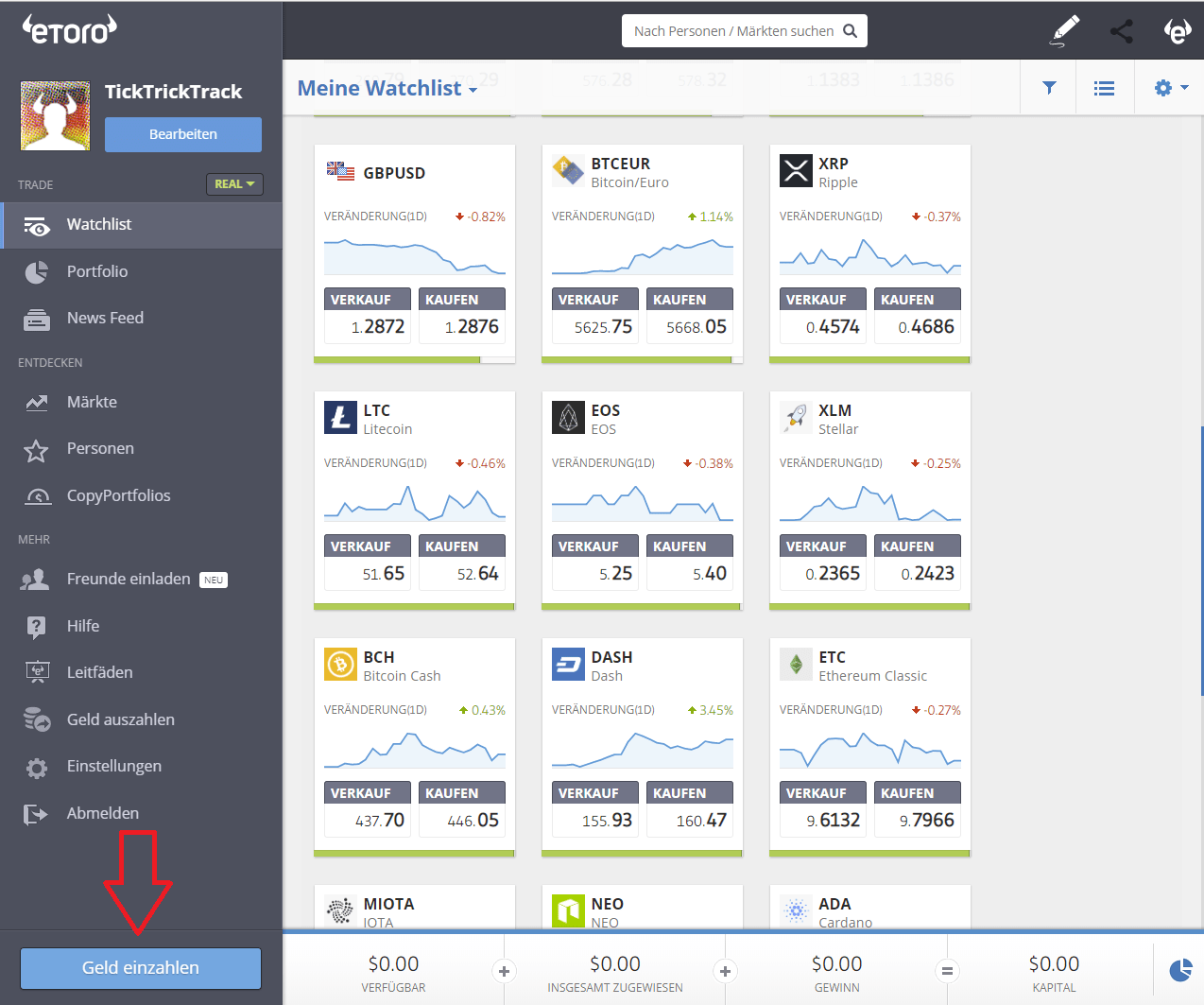 eToro Einzahlung Screenshot