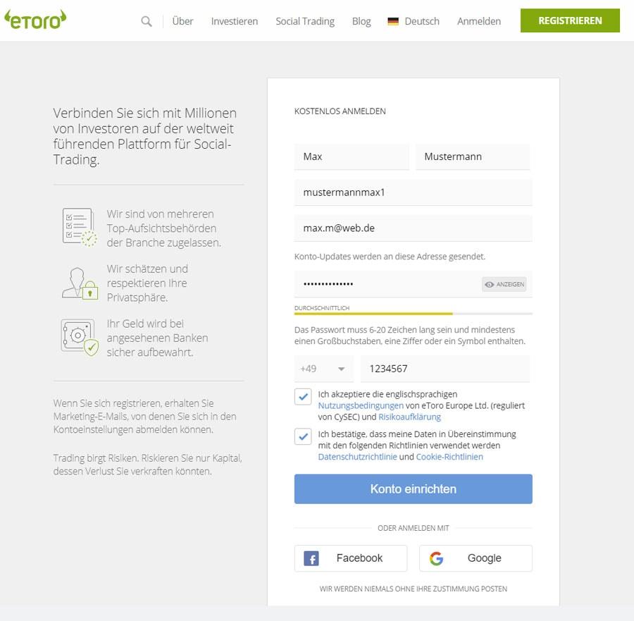 Ethereum kaufen - Anmeldung eToro