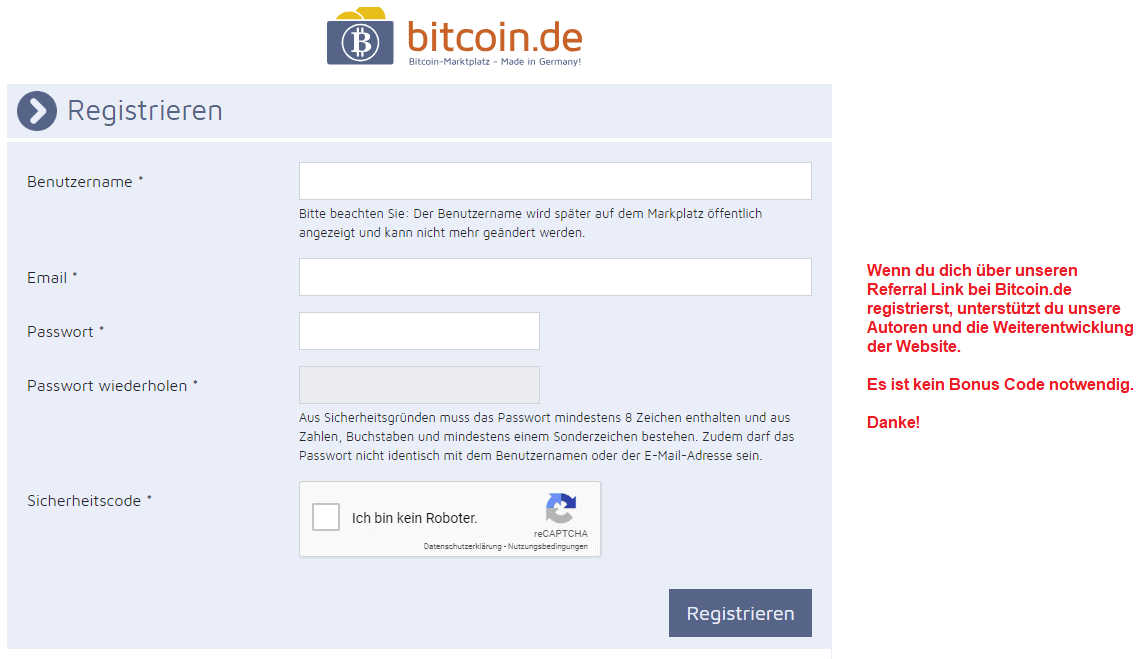 Bitcoin.de Bonus Code eingeben