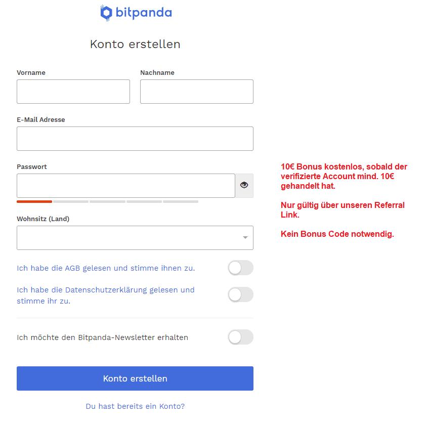 Bitpanda Gutschein eingeben