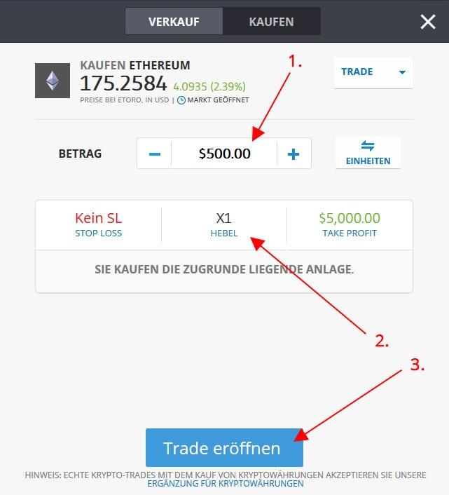 Ethereum für Betrag kaufen
