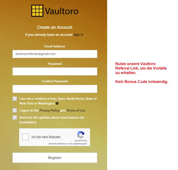 Vaultoro Gutschein Code eingeben