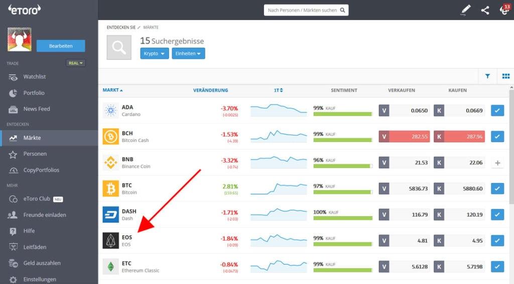 EOS auf Krypto Börse kaufen