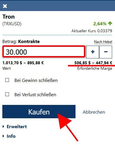 TRON Einheiten kaufen