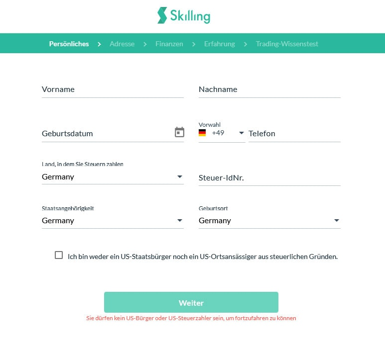 Screenshot Skilling Account Verifizierung