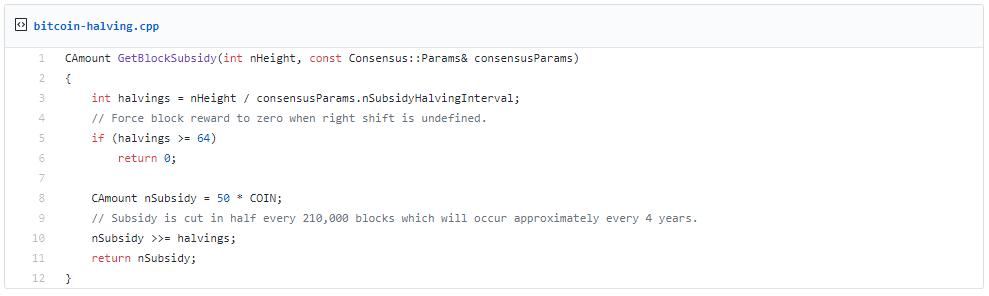 Ausschnitt aus dem Bitcoin-Quellcode
