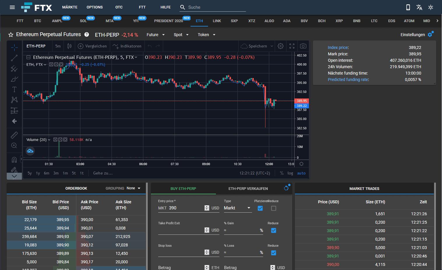 Screenshot - FTX Benutzeroberfläche
