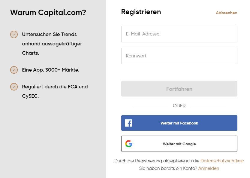 Capital.com Registrierung