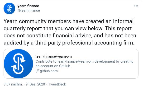 Yearn.finance tweet quarterly report
