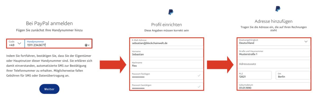 Registrierungsdaten PayPal eingeben